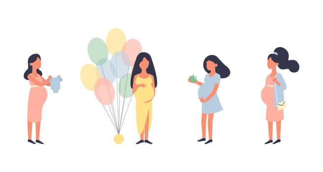 Pregnant woman. Pregnancy illustration set. Walking, healthy nutrition during pregnancy, purchase, baby shower and other situations. Character design. Healthy lifestyle. Preparation for childbirth