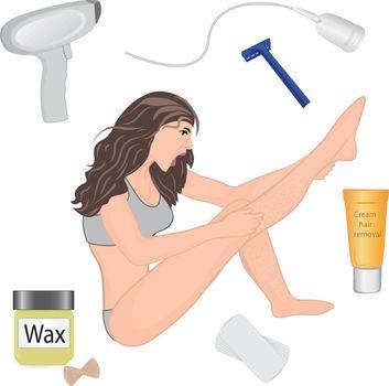 Hair removal methods vector illustration
