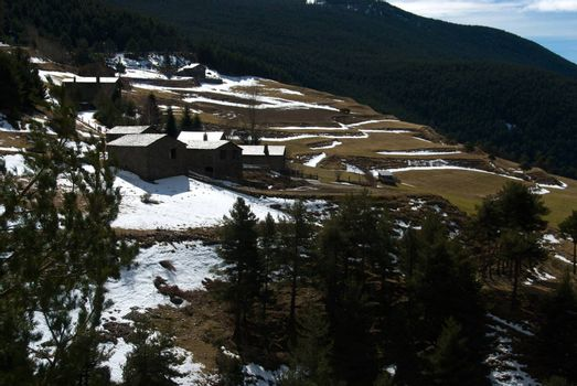 group of mountain houses nearby La Peguera road in Sant Julia de Loria, Andorra