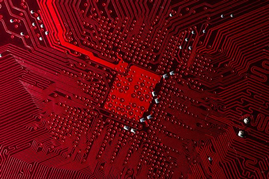 Close up photo of red pcb