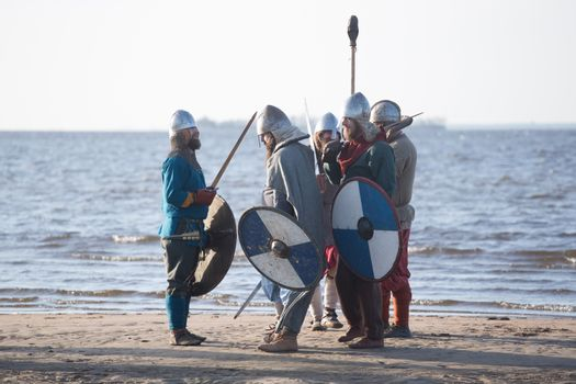 Slavic warriors at seaside