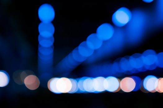 Night Bokeh with Blue Spots Lined up