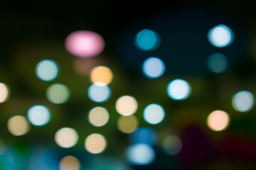 Night Bokeh with Colorful Spots Scattered