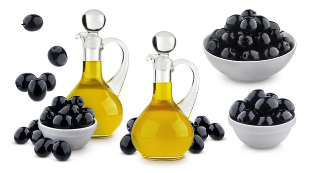 Olive oil isolated on white background with clipping path