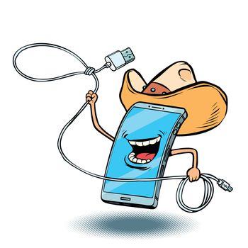 smartphone cowboy character