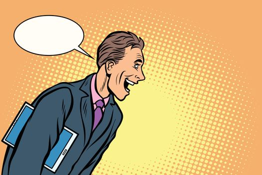 businessman laughs. a man joyful
