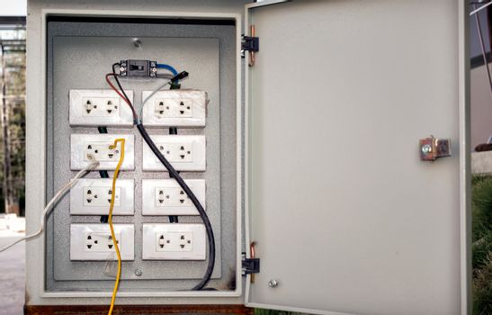 Dangerously Wired Electrical Sockets in a Breaker Box.