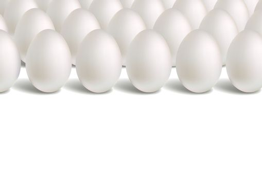 White eggs stand vertically. Horizontal rows of eggs. Light pattern