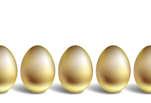 Golden eggs stand vertically. Horizontal row of gold eggs. Seamless pattern