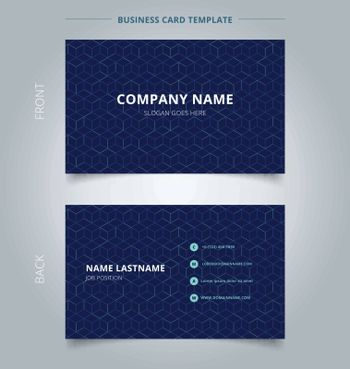 Business name card abstract cube pattern on dark blue background. Digital geometric lines square mesh.  Branding and identity graphic design. Vector illustration