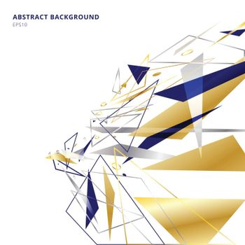 Abstract polygonal geometric triangles shapes and lines gold, silver, blue color perspective on white background with copy space. Luxury style. Vector illustration