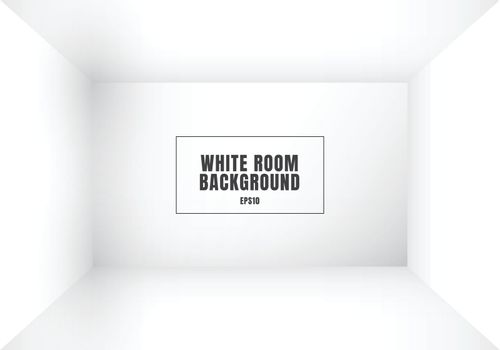 3D empty white room modern blank interior background. House, studio room. You can use for mockup you business project. Vector illustration