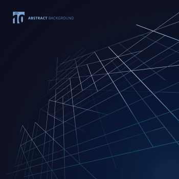 Abstract building exterior structure dimension lines silver color on dark blue background. Modern luxury style square mesh. Digital geometric abstraction with line. Vector illustration