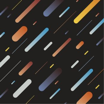 Abstract multicolor dynamic geometric pattern diagonal lines on dark background. Retro style. Vector illustration