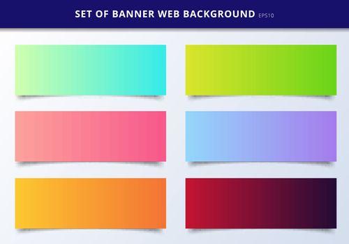 Set of banner web template header design vibrant gradient background. Vector illustration