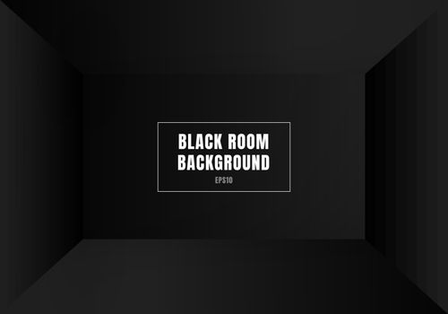 3D empty black room modern blank interior background. House, studio room. You can use for mockup you business project. Vector illustration