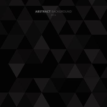 Abstract black triangles pattern on dark background minimal style. Vector illustration