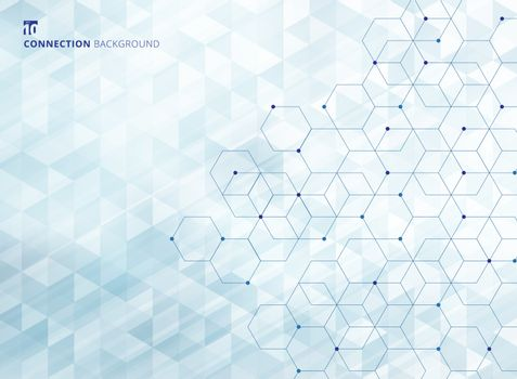 Abstract hexagons with nodes digital geometric with lines and dots geometric triangles pattern light blue color background and texture. Technology connection concept. Vector illustration