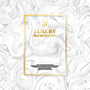 Template golden rectangle frame on white marble background and texture. Luxury style. Vector illustration