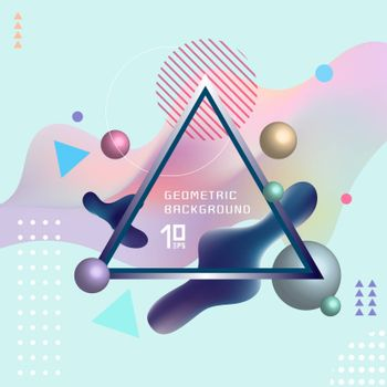 Abstract template colorful fluid shapes and geometric poster cover design background with triangle lable. You can use for place cards, banners, flyers, presentations and annual reports. Vector illustration