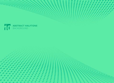 Abstract pattern dots green color halftone perspective background. Vector illustration