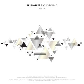 Abstract elements geometric triangles gold, silver color on white background. Luxury new retro style dynamic pattern composition. You can use for header, invitation, banner web, wedding card, poster, brochure, etc. Vector illustration