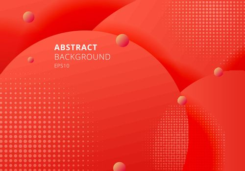 Abstract 3D liquid fluid circles red mustard pastels color beautiful background with halftone texture. Vector illustration