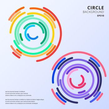 Abstract colorful circles maze rounded corners background with space for text. Vector illustration