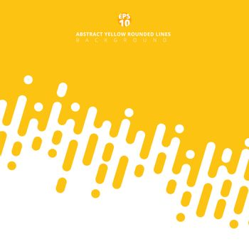 Abstract yellow mustard rounded lines diagonal halftone transition. Vector background Illustration