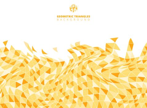 Abstract yellow geometric triangle structure distorted background and texture with copy space. Vector illustration