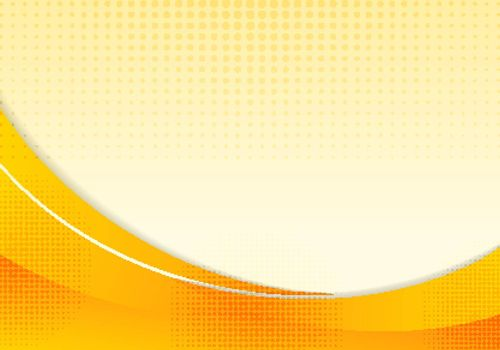 Abstract yellow waves or curved professional business design layout template or corporate banner web design background with halftone effect. Curve flow orange motion illustration. Orange smooth wave lines. Vector illustration