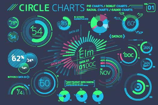 Circle Charts, Pie Charts, Radial Charts and Gauge Charts Infographic Elements