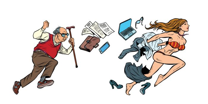 Discrimination against women. The old man is chasing a beautiful girl. Archaic and emancipation