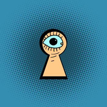 eyes peeping through the keyhole
