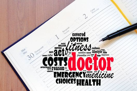 Doctor word cloud collage over notepad background