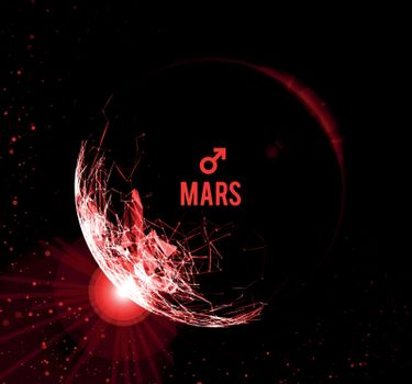 The planet Mars. Vector illustration on dark background. Mars in astrology symbolizes vigor, courage, determination.