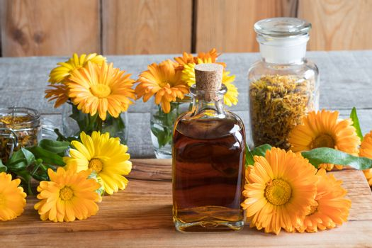 A bottle of calendula (marigold) tincture on a wooden table, with fresh and dry calendula flowers in the background