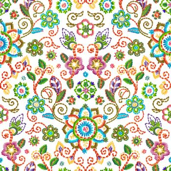 Embroidery seamless pattern with beautiful flowers. Vector floral ornament on white background.