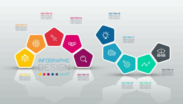 Pentagons label infographic on vector art.