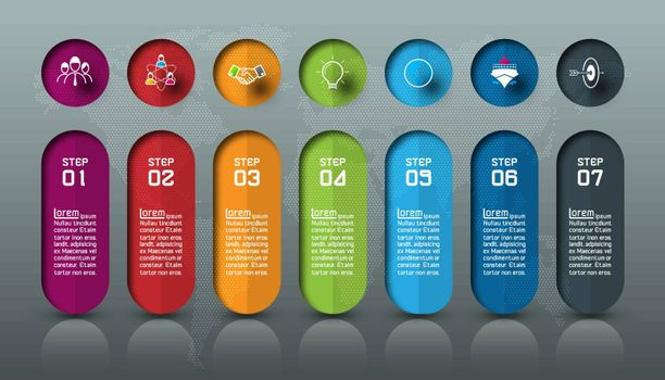 Seven colorful bars with business icon infographics.