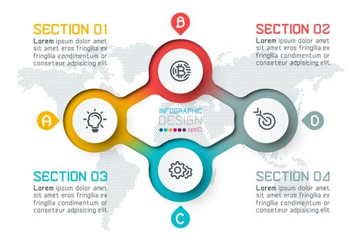 Four circles with business icon infographics.