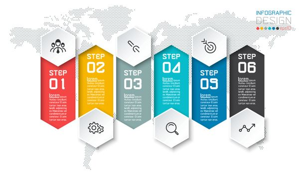 Six colorful bars with business icon infographics.