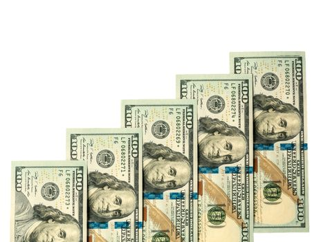 Five hundred dollars close-up, isolated on white