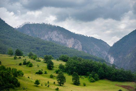 Beautiful Mountains of River Tara Canyon. Durmitor National Park in Montenegro, Balkans, Europe