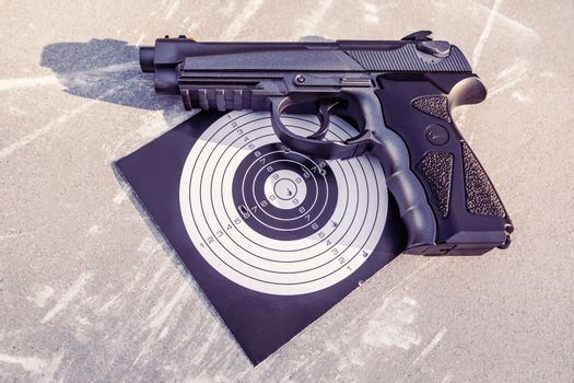 Pneumatic gun and target with shooting results, accuracy of hit