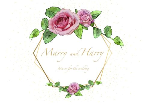 Floral Wedding Invitation Card with Watercolor Roses with Leafs and Golden Decoration - Colored Illustration, Vector Graphic