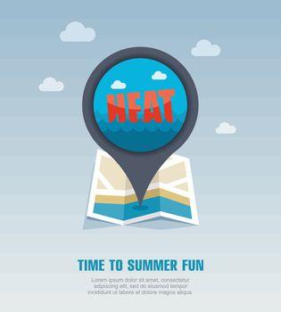 Heat pin map icon. Summer. Vacation