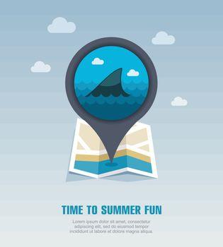 Shark fin pin map icon. Summer. Vacation