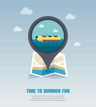 Yellow banana boat, ride pin map icon. Vacation