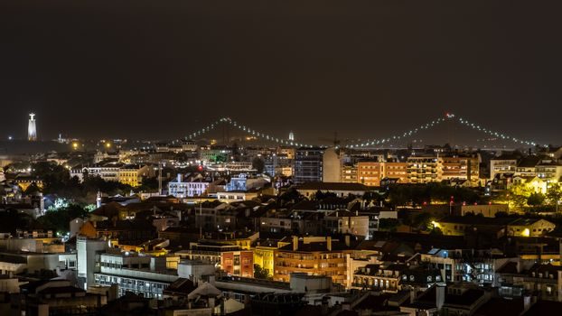 Rooftop View of Lisbon City at Night